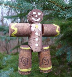 Wine Cork Gingerbread Man Christmas Tree Ornament