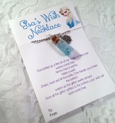 Frozen Necklace  Frozen Party Favors  Frozen by HauteCharms, $10.00 Make a wish, shake the bottle. When the glitter settles to the bottom, your wish will come true!