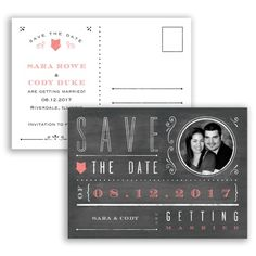 Chalkboard Typography - Save the Date Postcard