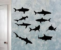 Sharks Sea Creatures  Vinyl Wall Decals Set of 9  by WrenGifts, $12.00    for canvas