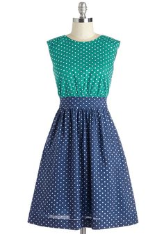 Too Much Fun Dress in Teal Dots. If overloading on fun were such a thing, we'd say go all out in this polka-dotted dress from hard-to-find British brand Emily and Fin! #multi #modcloth