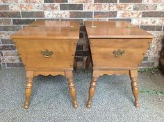 Grandma Brown's end tables: Ethan Allen Furniture Nutmeg Maple Heirloom Vintage Dough Box End Tables