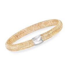 Ross-Simons - Italian 14kt Yellow and White Gold Mesh Bangle Bracelet - #860242