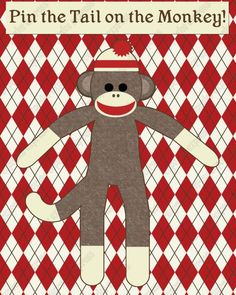 Monkey First Birthday, Monkey Birthday Parties, Baby Birthday, Birthday Ideas, Sock Monkey Nursery, Sock Monkey Party, Game Monkey, Monkey Monkey, March Themes