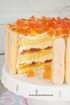 tort z brzoskwiniami i galaretką   FlyB Kulinaria Tiramisu, Cheesecake, Food And Drink, Baking, Ethnic Recipes, Cake, Pies, Cheesecakes, Bakken