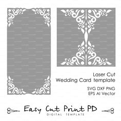 Wedding invitation Card Template Lace folds (studio V3 svg dxf ai eps png) laser paper cutting Instant Download Silhouette Cameo Cricut