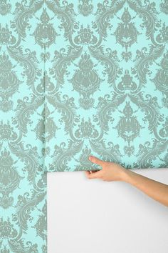 damask wallpaper. love! (temporary so you can remove and reapply if needed!)