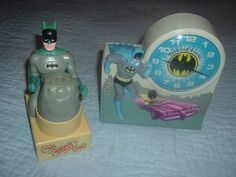 Original 1974 Batman & Robin Janex Talking Alarm Clock & Batman Pencil Sharpener