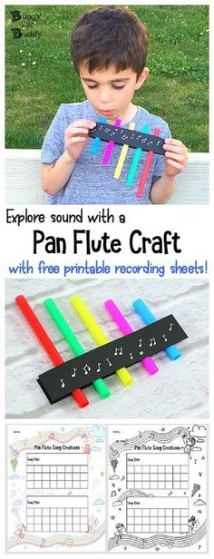 STEM / STEAM for Kids: Explore the science of sound with homemade pan flute craft and free printable recording sheet to write your own songs!