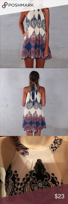 Boho summer dress Over the shoulder dress and ties around the neck, hangs above the knee, sexy and stylish for the warm weather, made off 100% cotton see last photo for sizing  Materials: cotton         ♥️offers welcome        ♥️fast shipping         no trades  Item #006 Dresses Mini