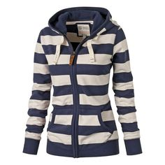 $17.76 Stylish Hooded Long Sleeve Striped Zippered Women's Hoodie