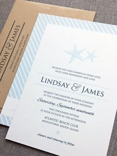Beautiful seaside inspired wedding invitation by Cricket Printing