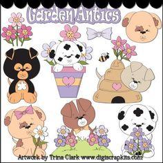 Garden Antics 2 Clip Art : Digital Scrapbook Kits, Cute Clip Art, Cutting Files, Trina Clark, Instant downloads, commercial use allowed, great prices.