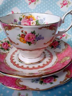 "Pretty pink teacup! This is ""Lady Carlyle"" by Royal Albert"