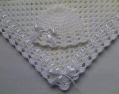 Crochet bebé manta y bebé sombrero conjunto regalo BAUTIZO Bautismo bebé ducha foto prop