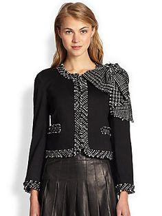 Alice + Olivia Wendi Bow Tie Boxy Jacket - what an awesome jacket for Fall/Winter to wear the work!!