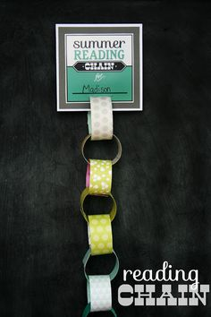 Print off a Summer Reading Chain. For each book your child reads, they get to add a new chain. (keep track, by writing the names of the books on each chain link) Add some magnets to the back of the card and hang right up on your fridge for all to see.
