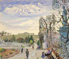 Oskar Laske : Galerie bei der Albertina Portrait, Gouache, Watercolor Paintings, Art Gallery, Albertina, Landscape, Abstract, World, Drawings