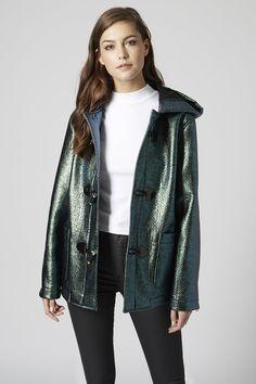 **Metallic Hooded Duffle Coat