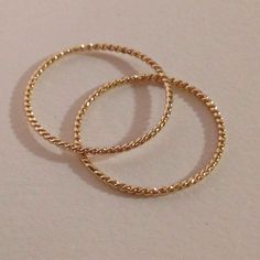 Set of 2 rings, 14k, solid gold, 18g stacking by EllynBlueJewelry on Etsy https://www.etsy.com/listing/206453371/set-of-2-rings-14k-solid-gold-18g