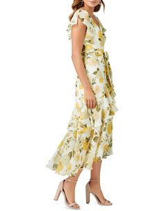 Forever New   Tiffany Wrap Midi Dress   MYER Forever New Dress, Printed Bridesmaid Dresses, Midi Length Skirts, Summer Dresses For Women, Yellow Dress, Cotton Dresses, Tiffany, Wrap Dress, Feminine