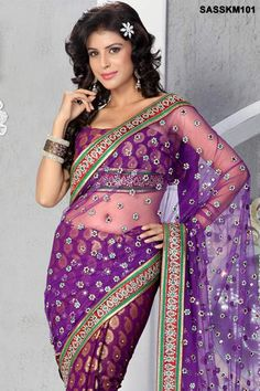 $336 Beautiful ethnic, Embroidered Viscose And Net Saree from cbazaar