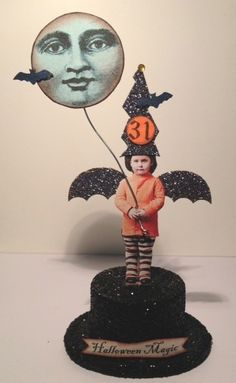 Fairy Witch Halloween Magic Moon Handmade Mixed Media Altered Art Collage OOAK | eBay