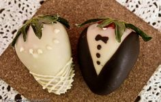 Bride & Groom Chocolate Covered Strawberries.  How Cute!!