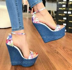 Cute Summer Denim Blue, Floral Print Wedges / Only Me ✌✔ xoxo