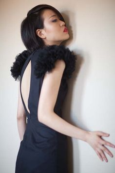 Little Black Dress w/Ruffled Shoulders by reddoll on Etsy