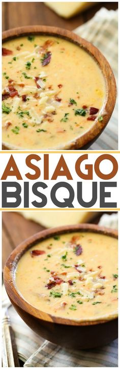 Asiago Bisque… This soup is unbelievably delicious! It is so flavorful, delici… Asiago Bisque… This soup is unbelievably delicious! It is so flavorful, delicious and unique! It will quickly become a new favorite! Think Food, I Love Food, Food For Thought, Good Food, Yummy Food, Tasty, Soup And Sandwich, Salad Sandwich, Soup And Salad