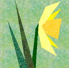 Paper Pieced Daffodil Quilt Block..free pattern