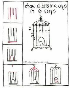 Learn to Draw a Bird in a Cage in 6 Steps : Learn To Draw Bird Drawings, Doodle Drawings, Easy Drawings, Doodle Art, Drawing Birds, Drawing Practice, Drawing Lessons, Bird In A Cage, Doodles