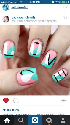 NOT MY NAILS! Color block turquoise pink freehand