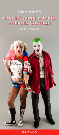 Save this DIY couples Halloween costume to make Suicide Squad Harley Quinn + Joker outfits.
