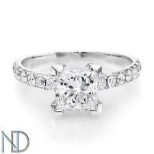 1.06 CT DIAMOND ENGAGEMENT RING PRINCESS CUT F/SI1 14K WHITE GOLD