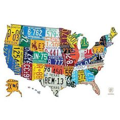 "East Urban Home USA Recycled License Plate Map IV Graphic Art Size: 12"" H x 18"" W x 0.75"" D"