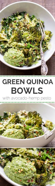 SUPER GREEN QUINOA BOWLS -- with kale, brussels sprouts, broccoli and a vegan avocado-hemp pesto