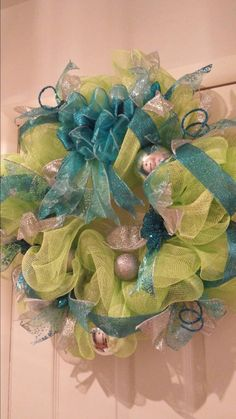 Turquoise and green deco mesh Christmas wreath