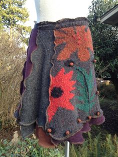 Recycled Upcycled Wool Blend Sweater Skirt Large to XL Rust Grey Plum Red