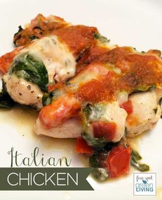 Easy Cheesy Italian Chicken with Tomatoes and Spinach Healthy Recipe - Five Spot Green Living