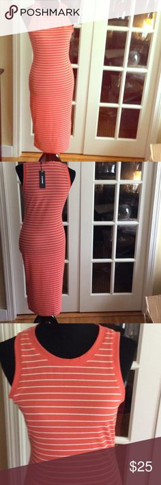 Coral & White Striped Tank Dress sz L Cute midi dress , striped fabric shown in picture does have stretch. Side slit on 1 side No Comment Dresses