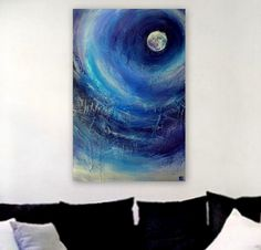 Abstract Painting Blue Moon Mixed Media por EricaSeckingerArt