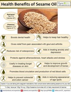 The health benefits of sesame oil include its ability to improve hair and skin health, stimulate strong bone growth, reduce blood pressure, increase heart health, manage anxiety and depression, protect infant health, boost your dental health, prevent cancer, improve the digestive process, and lower inflammation.