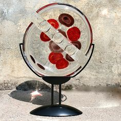 Sommerso style disc-shaped sculpture #yourmurano #glassart