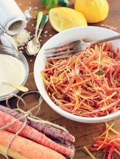 """Zazou"" Carrot Salad with Lemon Tahini Dressing"