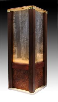 Walnut legs and walnut veneer with infrared image stained glass top