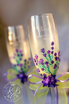 Wedding champagne glasses, hand-painted, toasting flutes, spring wedding, Provence flower, yellow and lavender, luxury traditional, 2pcs