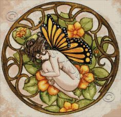 Sweet dreams butterfly fairy cross stitch | Yiotas XStitch