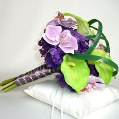 Tropical Bridal Bouquet with purple hydrangeas, orchids, & green calla lilies